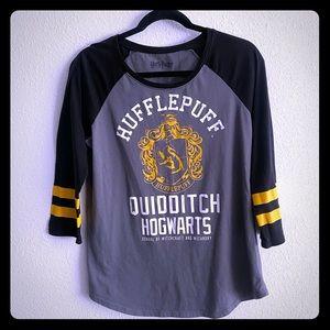 Harry Potter Hogwarts Hufflepuff Baseball Tee L